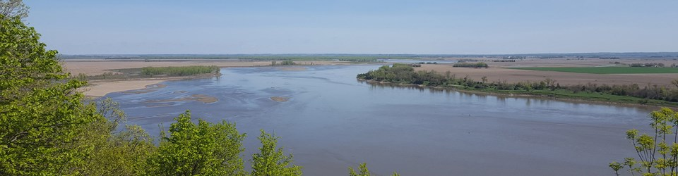 A wide view of the Missouri River with its borders outlined by cottonwood trees.