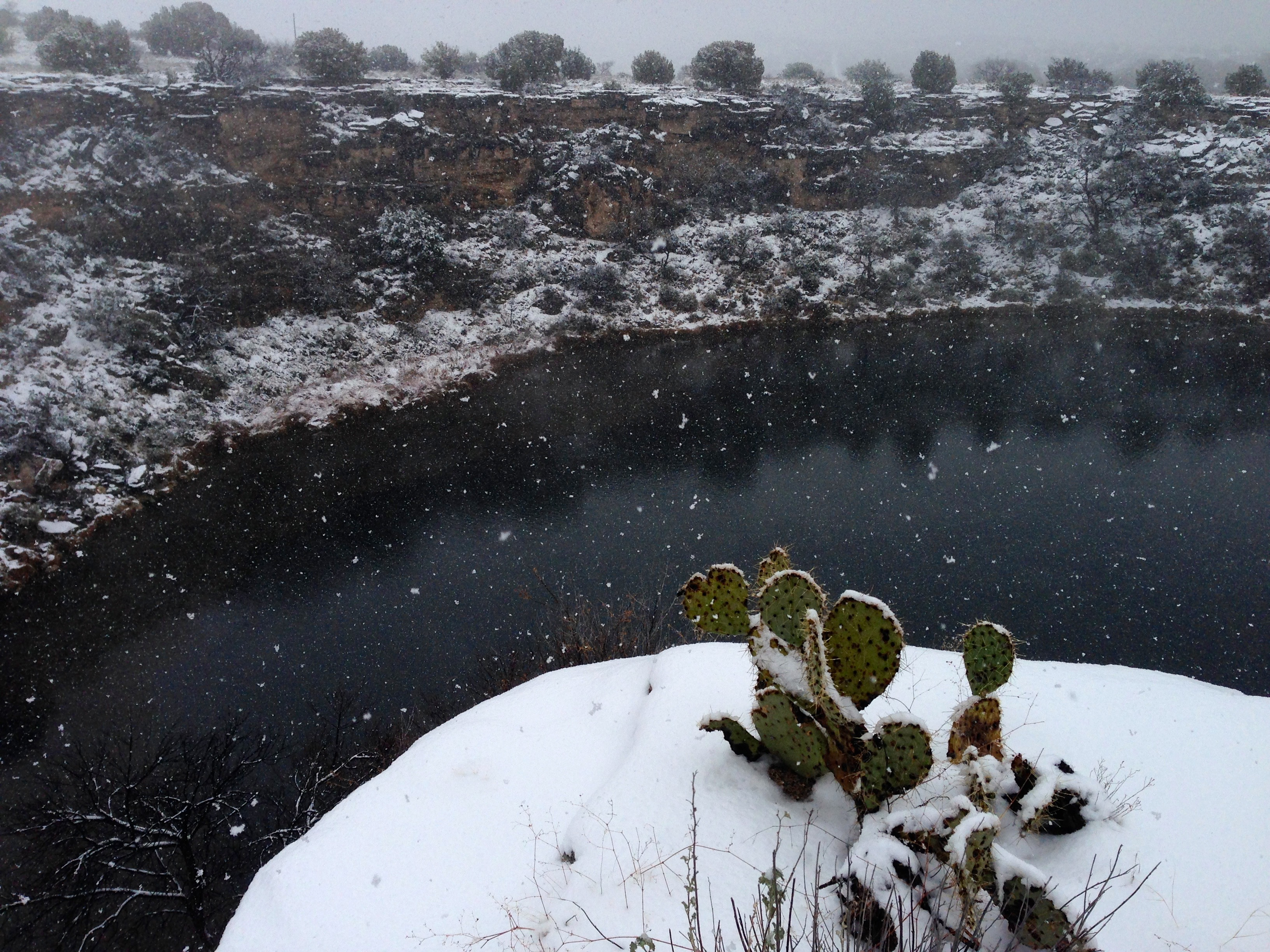 Montezuma Well covered in snow