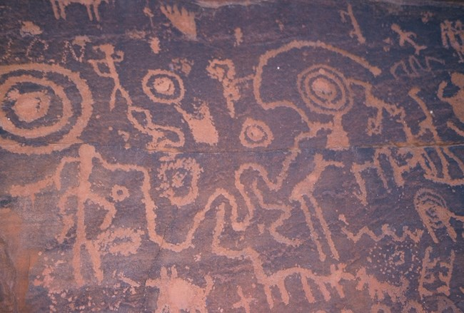 Petroglyphs at the USFS site V Bar V