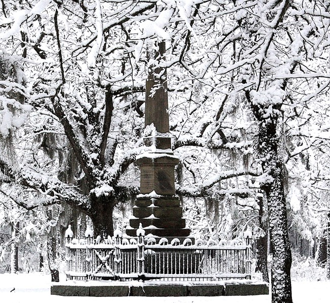 The Grady Monument and surrounding trees covered in recent snowfall