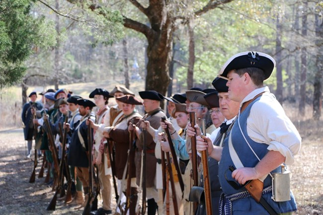 Militia stand in formation during the 241st Anniversary of the Battle of Moores Creek Bridge