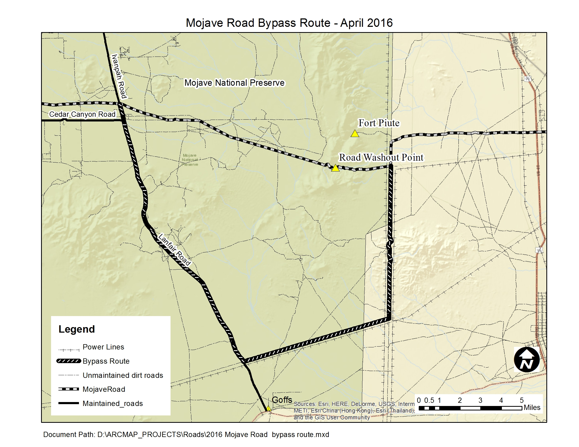 Map of Mojave Rd bypass route