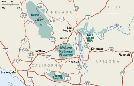 Map showing location of Mojave National Preserve.
