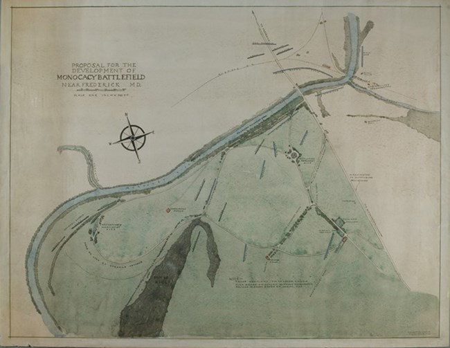 Watercolor Map, Proposal for the Development of Monocacy Battlefield