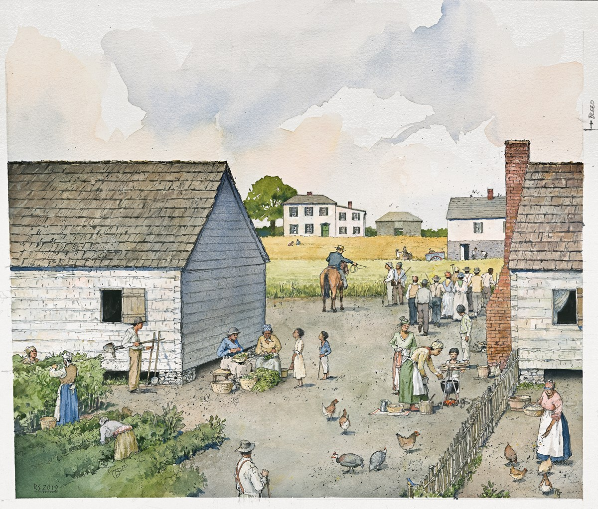 Artist's rendering of daily life in L'Hermitage slave village.