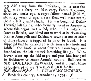A newspaper advertisement from December 1, 1795 announcing a reward for a freedom seeker named Jerry.