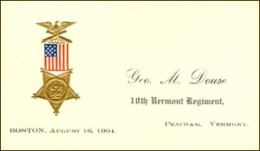 Private George M. Douse's Card