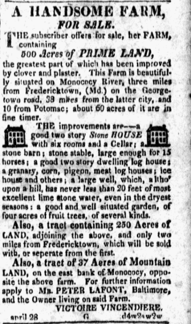 An 1820s newspaper advertisement to sell L'Hermitage.