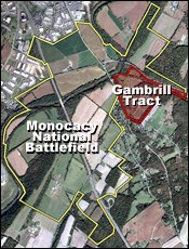 Areal photo of Monocacy National Battlefield with the Gambrill Tract outlined.