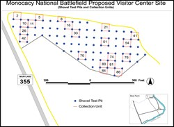 GIS is used for planning the archeological field methodology for the new Monocacy Visitor Center.