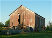 Lewis Farm Bank Barn emergency stabilization in progress (2006)