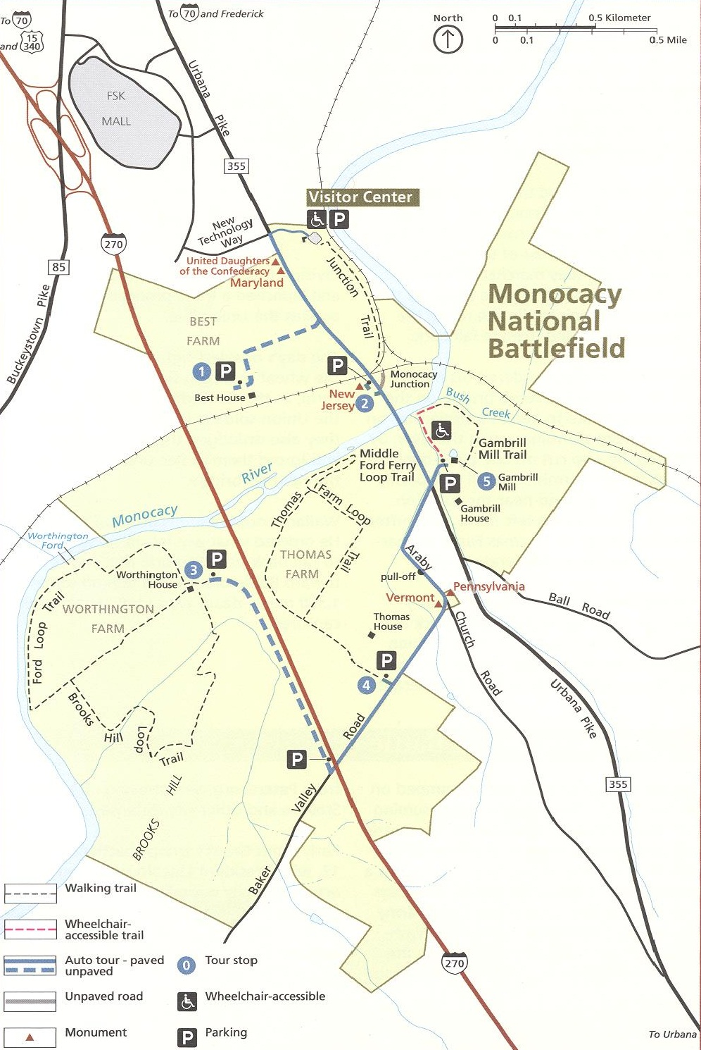 Map of Monocacy National Battlefield