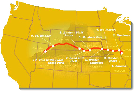 Map image of suggested trail sites to visit along the Mormon Pioneer NHT.
