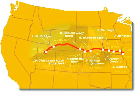 map image of suggested trail sites to visit along the mormon pioneer nht