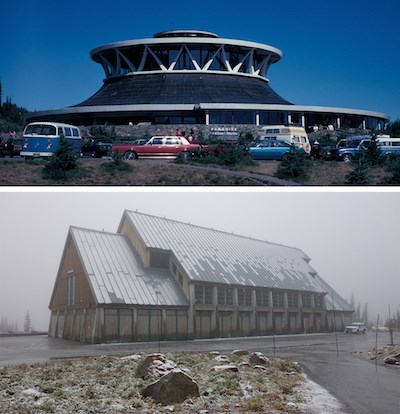 Two images, the top showing the round, flat-topped old Jackson Visitor Center; the bottom image showing the smaller, pitched-roof, new Jackson Visitor Center.