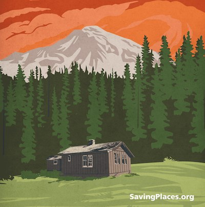 "Graphic of a cabin in front of forest and Mount Rainier with ""SavingPlaces.org"" text in the corner."