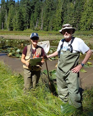 Two volunteers in waders stand in reed-filled lake.