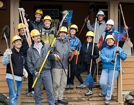 Volunteers from Recreational Equipment, Inc. (REI) helped reopen trails at Mount Rainier after storms during the winter of 2006-2007.