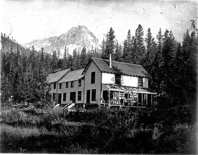 Black and white image of Longmire Springs Hotel built by the Longmire family in the 1890s.