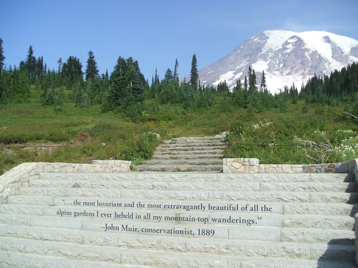 Stone steps leading up to subalpine meadows at Paradise with a quote for John Muir engraved in them.
