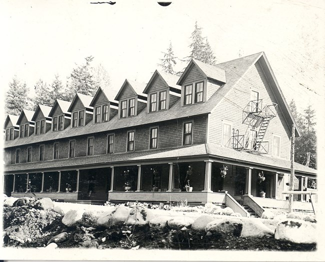 Black and white image of the north side of the first National Park Inn.