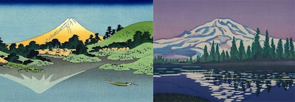 "Left: ""The Fuji reflects in Lake Kawaguchi, seen from the Misaka pass in the Kai province"" by Hokusai Right: ""Reflection"" by Kristina Hagman (of Mount Rainier)"