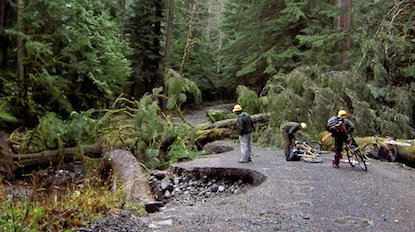 Flood damage to the Carbon River Road at Mount Rainier National Park.