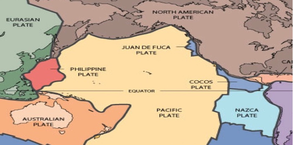 A Simple Map Showing The Major Tectonic Places Around The Pacific Plate.