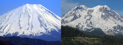 The Sister Mountains of Mount Fuji (left) in Japan and Mount Rainier (right) in Washington.