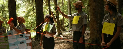 Several Teacher-Rangers holding posters and signs and using string to create a living concept web about climate change.