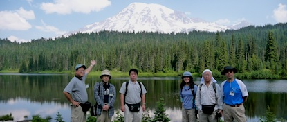 Japanese teachers from the 2010 Sister Mountain Workshop in front of Reflection Lake and Mount Rainier.