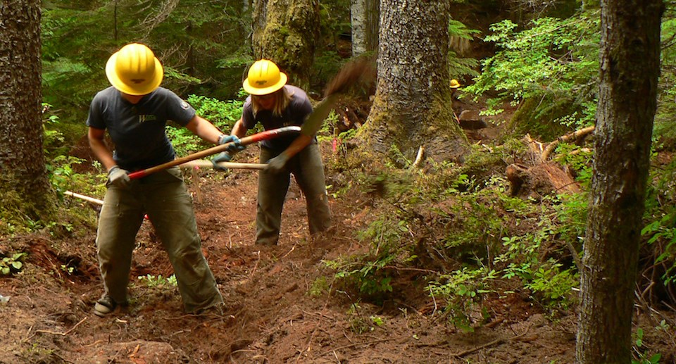 Two people wearing yellow hard hats shovel a trail in a forest.