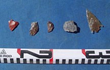 Artifacts found at Spray Park site including arrowheads and rock chips