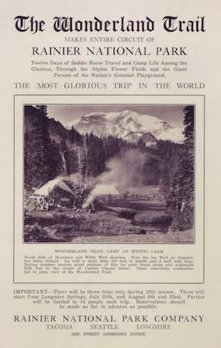 "A bulletin with a photo of a campsite, wood fire burning, Mount Rainier in the background and text stating ""The Wonderland Trail: The Most Glorious Trip In The World"""