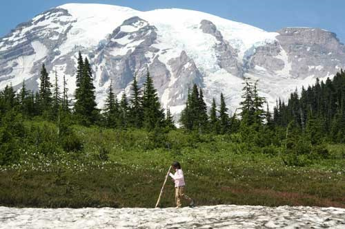 A young hiker at Paradise meadows.