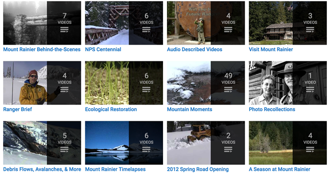 A picture showing Mount Rainier National Park's youtube channels.
