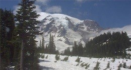 Mount Rainier through the mountain webcam.