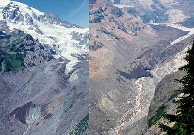 Two side-by-side pictures of the snout of the Nisqually glacier - left one, 1994; right one 2015.