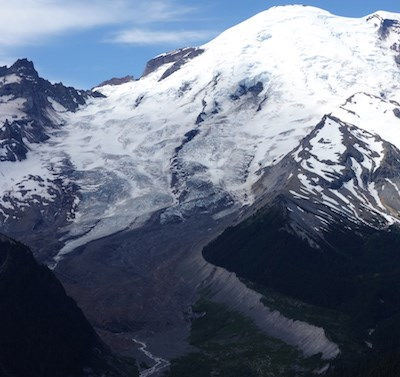 Emmons Glacier curving down the side of Mount Rainier from the summit to the White River Valley.