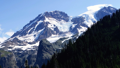 Puyallup Glacier filling Sunset Amphitheater basin near the summit of Mount Rainier.