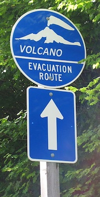 Volcano evacuation route sign.