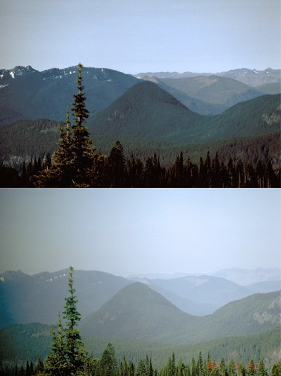 Two photos from an air quality camera in Paradise show different degrees of air clarity.