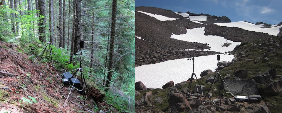 Left: A tripod and equipment set up in a forest. Right: A tripod and equipment sent up on a rocky slope with scattered snow fields.