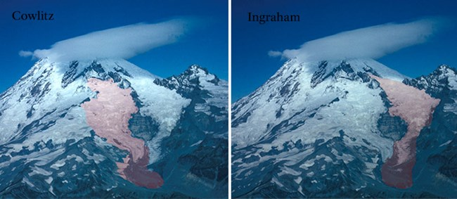 Two duplicate images of Mount Rainier with the Cowlitz glacier highlighted on left and the Ingraham glacier highlighted on right.