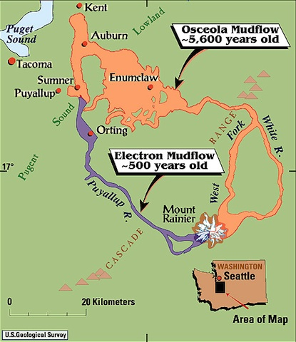 A graphic map showing the land covered by the Electron and Osceola mud flows originating from Mount Rainier.