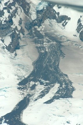 An aerial photo of a rockfall avalache on top of the Nisqually Cleaver glacier taken June 24, 2011.