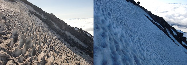 Snow forms numerous sharp points on a steep slope, pictured left; shallow bowl-shaped depressions covering a glacier's surface, pictured right.