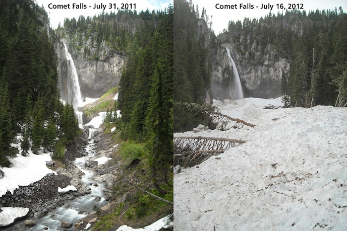 Photos taken from the same location, one year apart, show the massive amount of snow deposited in the canyon below Comet Falls by an avalanche that occurred sometime earlier this year.