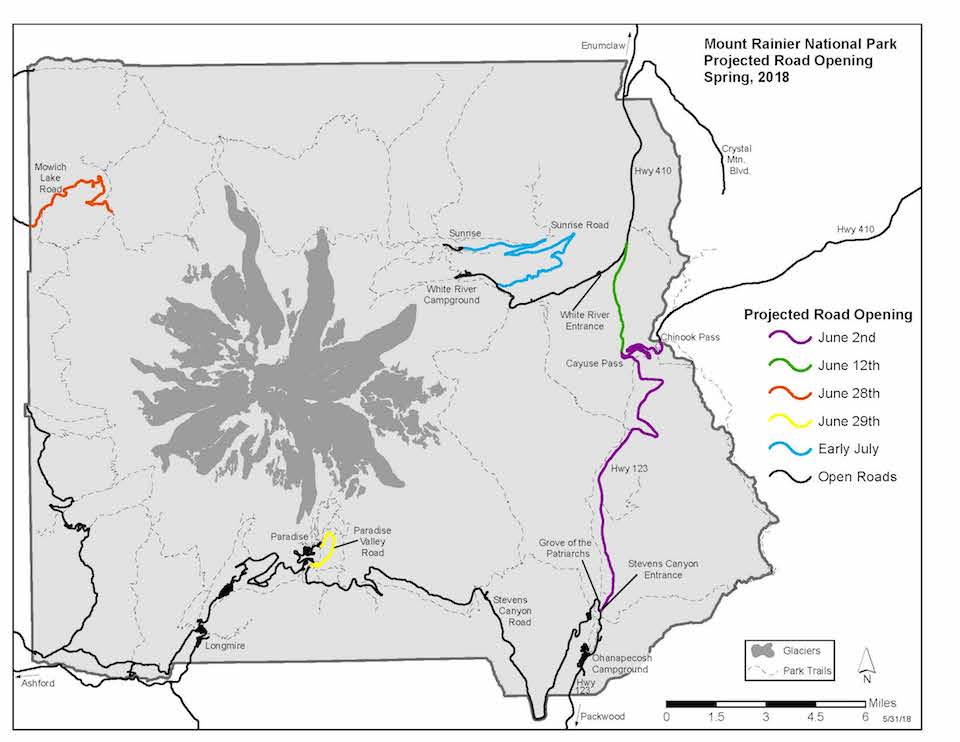 Simplified map of Mount Rainier National Park with roads highlighted in different colors to indicate their opening dates.