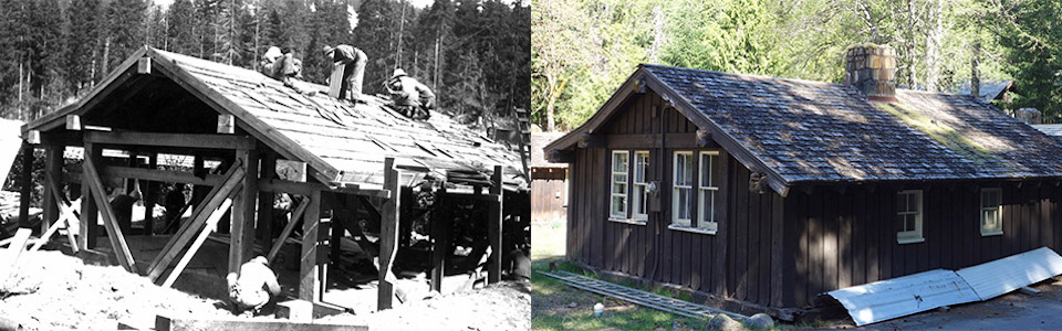Two photos; left: black and white photo of CCC workers constructing a cabin; right: the cabin today.